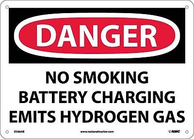 Danger, No Smoking Battery Charging Emits Hydrogen Gas, 10X14, .040 Aluminum