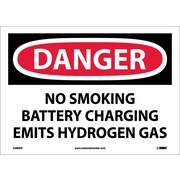 Danger, No Smoking Battery Charging Emits Hydrogen Gas, 10X14, Adhesive Vinyl