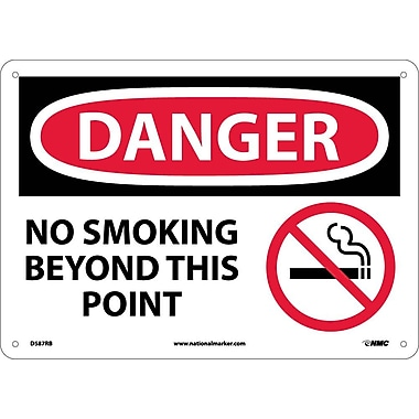 Danger, No Smoking Beyond This Point, Graphic, 10X14, Rigid Plastic