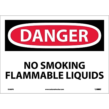 Danger, No Smoking Flammable Liquids, 10X14, Adhesive Vinyl