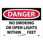 Danger, No Smoking Or Open Lights Within _ Feet, 10X14, Adhesive Vinyl