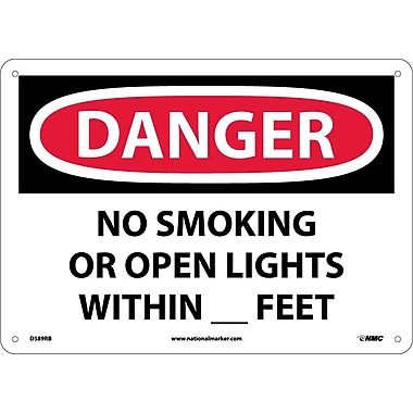 Danger, No Smoking Or Open Lights Within _ Feet, 10X14, Rigid Plastic