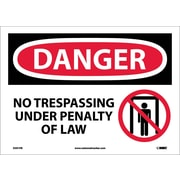 Danger, No Trespassing Under Penalty Of Law, Graphic, 10X14, Adhesive Vinyl