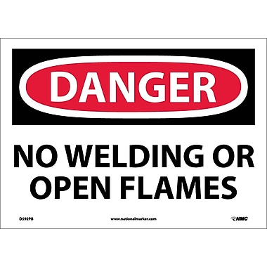 Danger, No Welding Or Open Flames, 10X14, Adhesive Vinyl