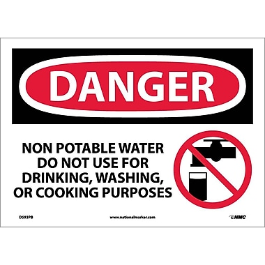 Danger, Non-Potable Water Do Not Use for Drinking, Washing Or Cooking Purposes, Graphic, 10