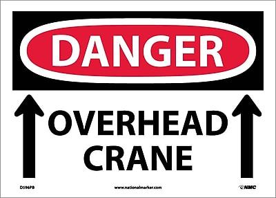 Danger, Overhead Crane, Up Arrows, 10X14, Adhesive Vinyl