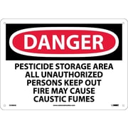 Danger, Pesticide Storage Area All Unauthorized Persons Keep Out Fire May Cause Caustic Fumes