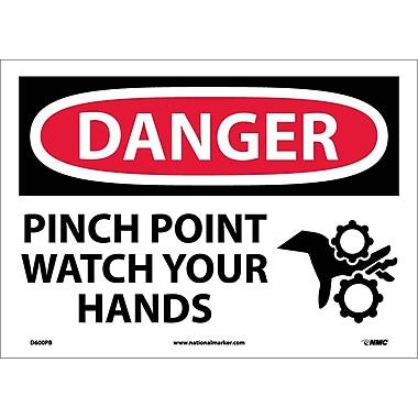 Danger, Pinch Point Watch Your Hands, Graphic, 10X14, Adhesive Vinyl