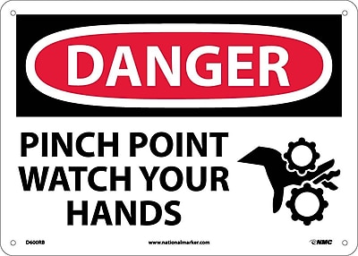 Danger, Pinch Point Watch Your Hands, Graphic, 10X14, Rigid Plastic