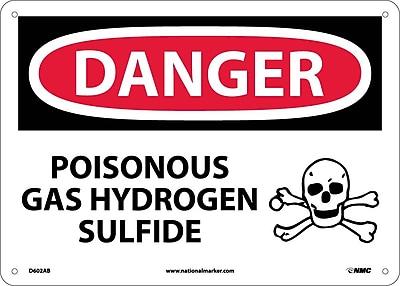 Danger, Poisonous Gas Hydrogen Sulfide, 10X14, .040 Aluminum