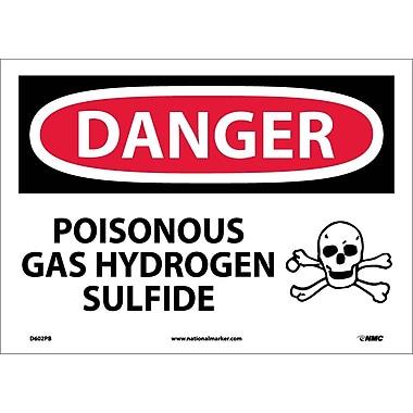 Danger, Poisonous Gas Hydrogen Sulfide, 10X14, Adhesive Vinyl