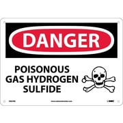 Danger, Poisonous Gas Hydrogen Sulfide, 10X14, Rigid Plastic
