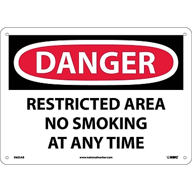 Danger, Restricted Area No Smoking At Any Time, 10X14, .040 Aluminum
