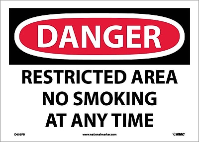 Danger, Restricted Area No Smoking At Any Time, 10X14, Adhesive Vinyl