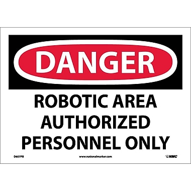 Danger, Robotic Area Authorized Personnel Only, 10X14, Adhesive Vinyl
