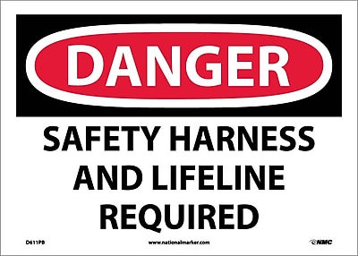 Danger, Safety Harness And Lifeline Required, 10X14, Adhesive Vinyl
