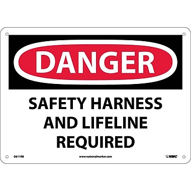 Danger, Safety Harness And Lifeline Required, 10X14, Rigid Plastic