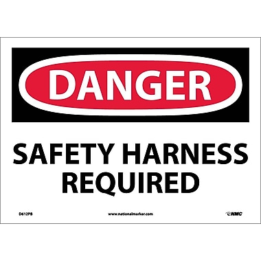 Danger, Safety Harness Required, 10X14, Adhesive Vinyl