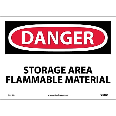 Danger, Storage Area Flammable Material, 10X14, Adhesive Vinyl
