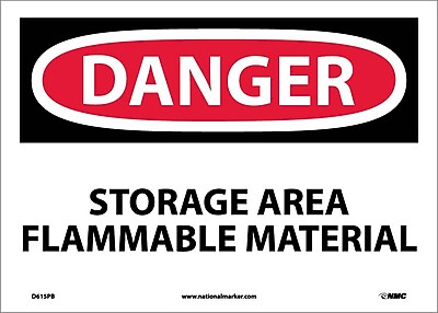 Danger, Storage Area Flammable Material, 10X14, Adhesive Vinyl
