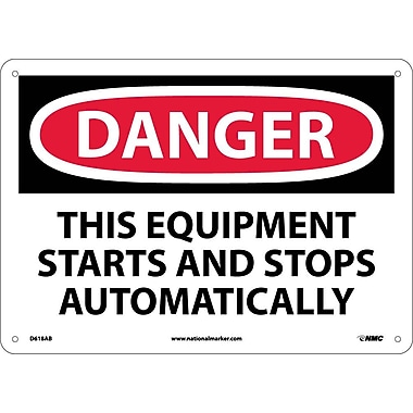 Danger, This Equipment Starts And Stops Automatically, 10X14, .040 Aluminum