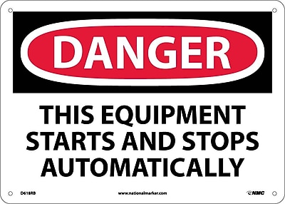 Danger, This Equipment Starts And Stops Automatically, 10X14, Rigid Plastic