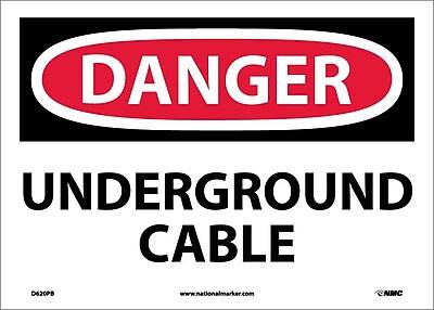 Danger, Underground Cable, 10X14, Adhesive Vinyl