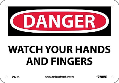 Danger, Watch Your Hands And Fingers, Graphic, 7X10, .040 Aluminum