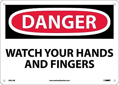 Danger, Watch Your Hands And Fingers, 10X14, .040 Aluminum