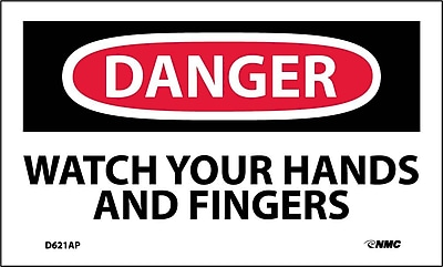 Labels - Danger, Watch Your Hands And Fingers, 3X5, Adhesive Vinyl, 5/Pk