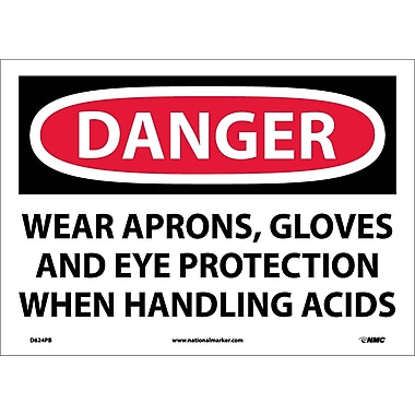 Danger, Wear Aprons, Gloves And Eye Protection When Handling Acids, 10