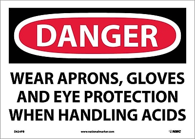 Danger, Wear Aprons, Gloves And Eye Protection When Handling Acids, 10X14, Adhesive Vinyl