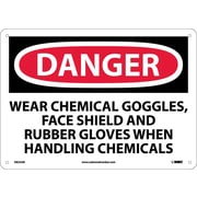 Danger, Wear Chemical Goggles, Face Shield And Rubber Gloves When Handling Chemicals (D625AB)