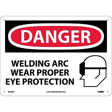 Danger, Welding Arc Wear Proper Eye Protection, Graphic, 10X14, .040 Aluminum