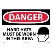 Danger, Hard Hats Must Be Worn In This Area, Graphic, 14X20, .040 Aluminum