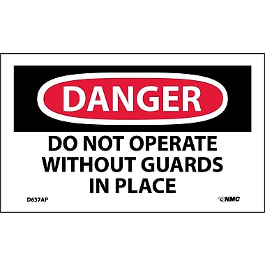 Labels - Danger, Do Not Operate Without Guards In Place, 3X5, Adhesive Vinyl, 5/Pk