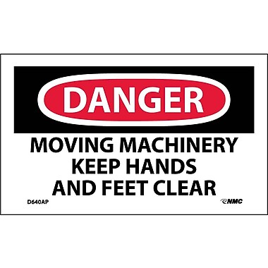 Labels Danger, Moving Machinery Keep Hands And Feet Clear, 3