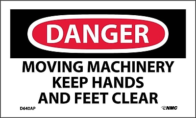 Labels - Danger, Moving Machinery Keep Hands And Feet Clear, 3X5, Adhesive Vinyl, 5/Pk