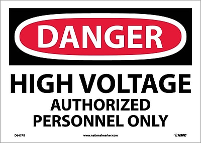Danger, High Voltage Authorized Personnel Only, 10X14, Adhesive Vinyl