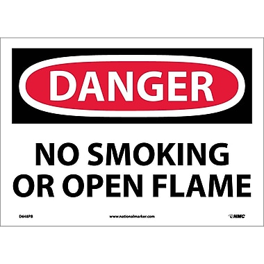 Danger, No Smoking Or Open Flame, 10X14, Adhesive Vinyl