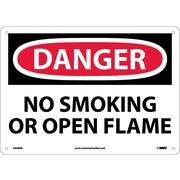 Danger, No Smoking Or Open Flame, 10X14, Rigid Plastic