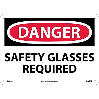 Danger, Safety Glasses Required, 10X14, .040 Aluminum