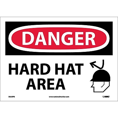 Danger, Hard Hat Area, Graphic, 10X14, Adhesive Vinyl