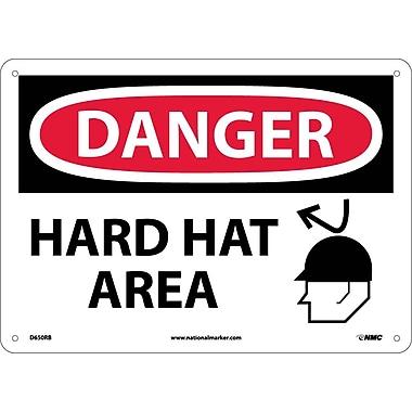 Danger, Hard Hat Area, Graphic, 10X14, Rigid Plastic
