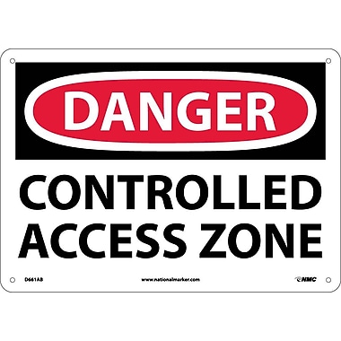 Danger, Controlled Access Zone, 10X14, .040 Aluminum