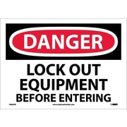 Danger, Lock Out Equipment Before Entering, 10X14, Adhesive Vinyl