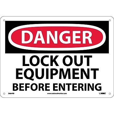 Danger, Lock Out Equipment Before Entering, 10X14, Rigid Plastic