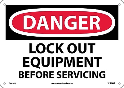 Danger, Lock Out Equipment Before Servicing, 10X14, .040 Aluminum
