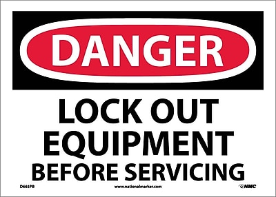 Danger, Lock Out Equipment Before Servicing, 10X14, Adhesive Vinyl