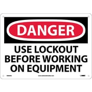 Danger, Use Lockout Before Working On Equipment, 10X14, .040 Aluminum